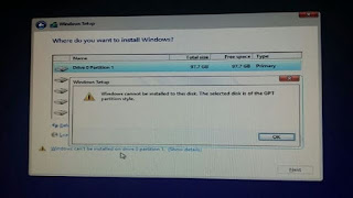 """Sửa lỗi """"Windows cannot be installed to this disk. The selected disk is of the GPT partition style"""" khi cài mới Windows 10"""