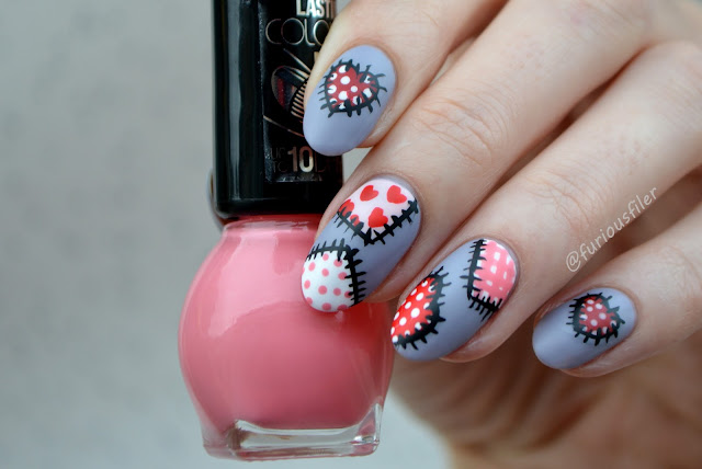 valentine's day tutorial heart patchwork nail spec matte