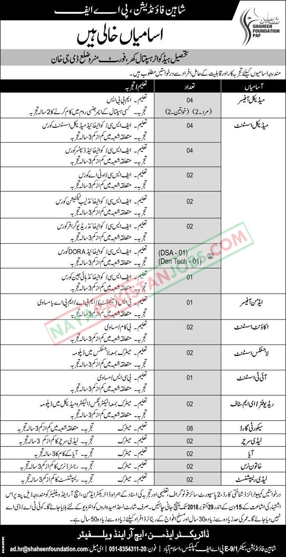 Latest Vacancies Announced in PAF Shaheen Foundation Islamabad 14 October 2018 - Naya Pakistan
