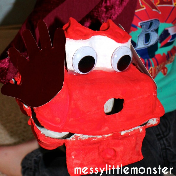 Egg box dragon puppet.  Recycled Chinese new year craft for kids,  toddlers, preschoolers, eyfs.