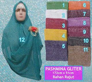 Grosir jilbab pashmina glitter rajut murah meriah