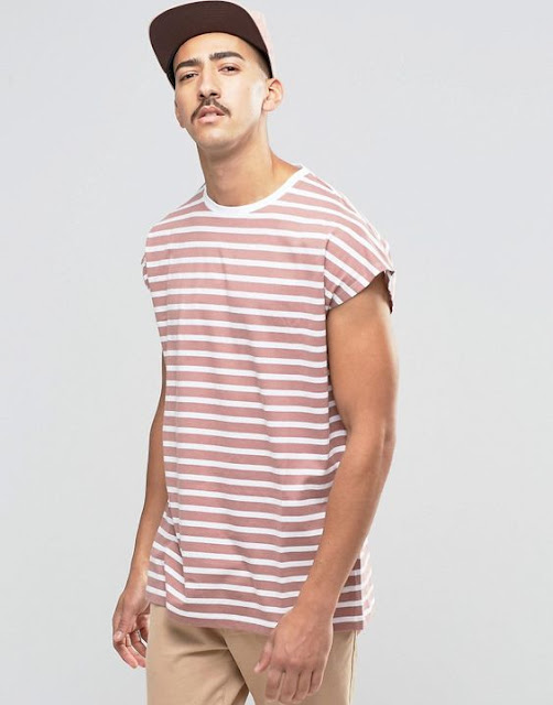 Look Masculino com camiseta listrada oversized sleeveless masculina