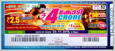 POOJA BUMPER 2017 LOTTERY NO. BR-58th DRAW held on 22/11/2017