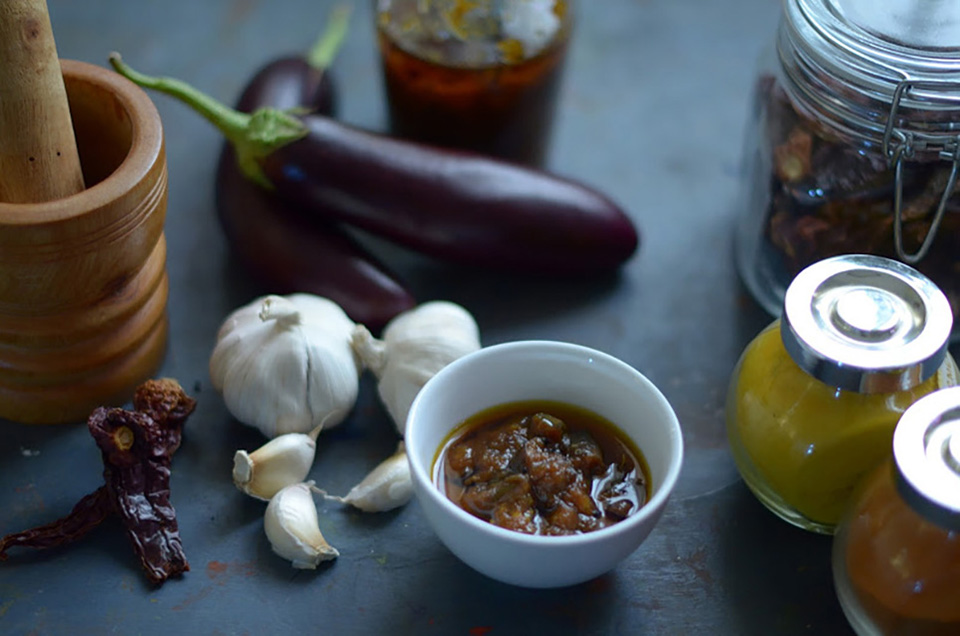 Spicy eggplant/brinjal pickle