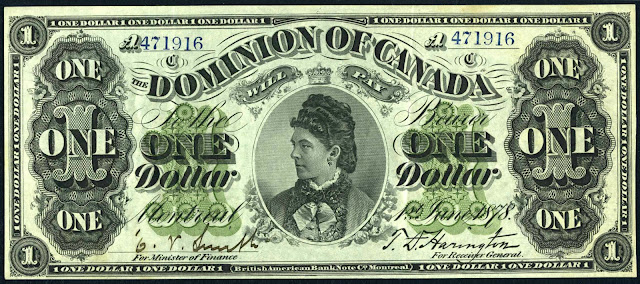 Dominion of Canada One Dollar Bank Note 1878 Countess of Dufferin, Hariot Hamilton-Temple-Blackwood, Marchioness of Dufferin and Ava, Viceregal Consort of Canada