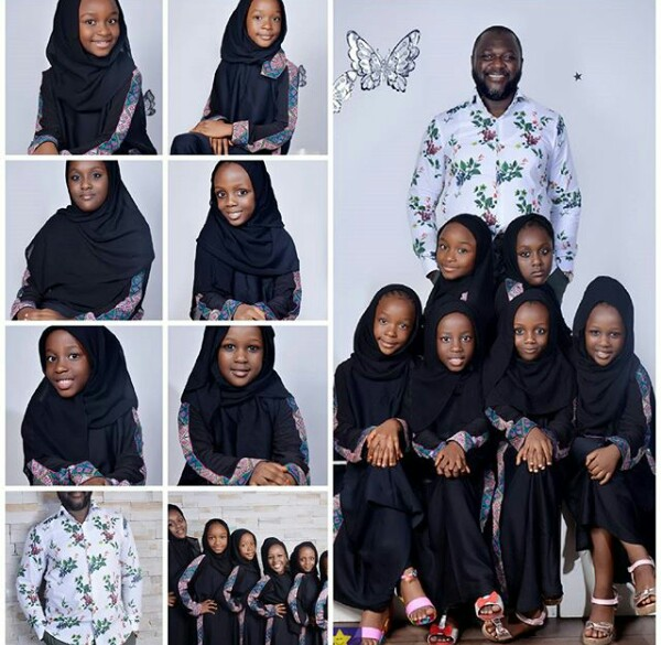 Photos of a Nigerian Muslim father with his six beautiful daughter
