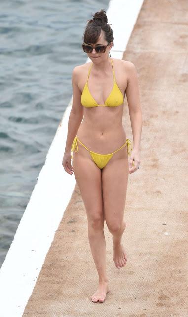 Dakota Johnson in Yellow Bikini on 'Fifty Shades Darker' set in France