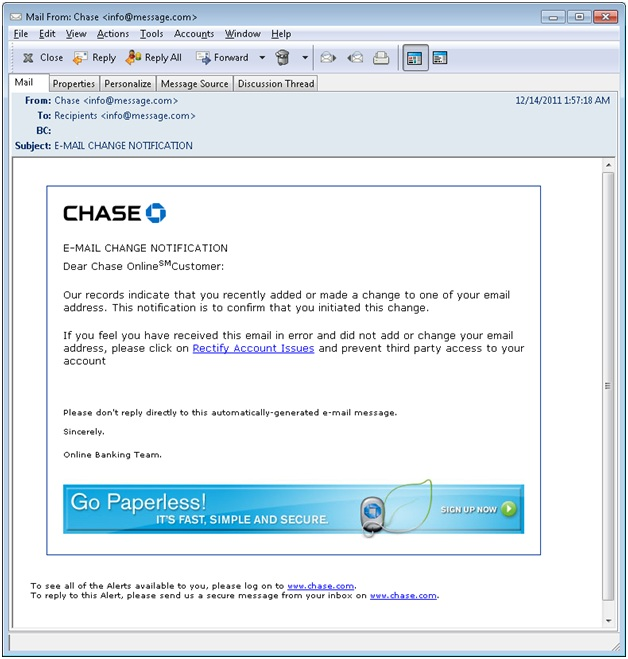 Information Security: Phishing Email: Chase Email Change