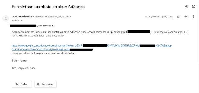 Kemudian Sobat akan menerima pesan Gmail dari Google yang berisi link konfirmasi pembatalan. Sobat klik link tersebut.