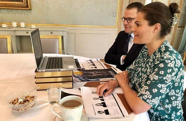 Crown Princess Victoria and Prince Daniel took part in a digital meeting. Princess Victoria wore a new green floral print dress by Rodebjer