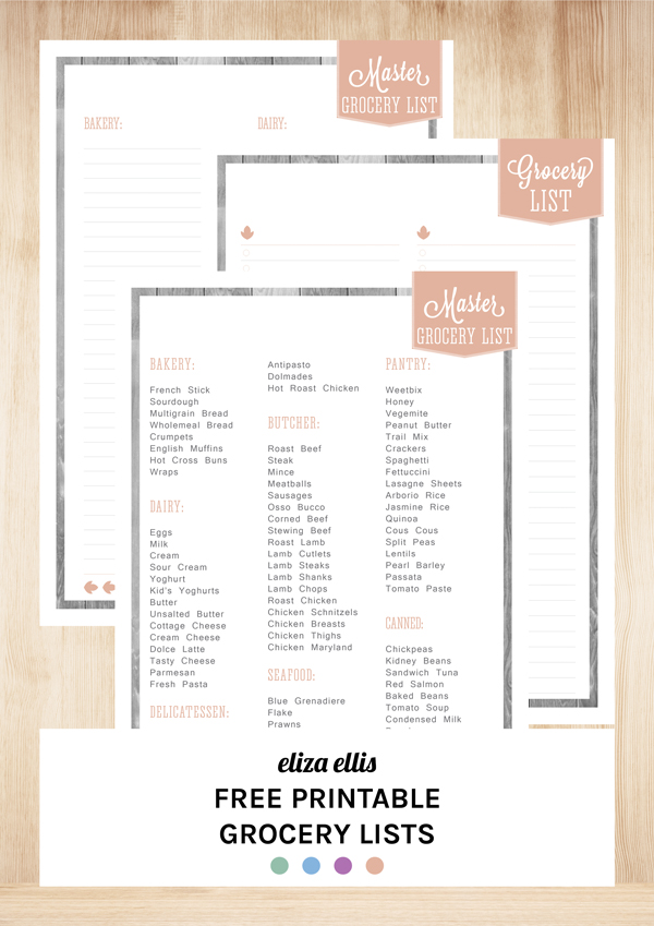 Free Printable Grocery Lists by Eliza Ellis