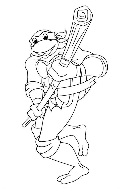 Tranh tô màu Ninja rùa 08