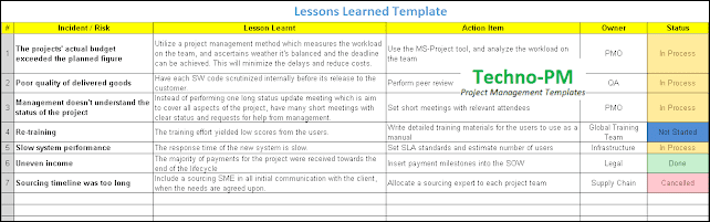 Lessons Learned Template Excel, Lessons Learned Template