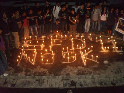 Candle Light Vigil at Maitighar Kathmandu - Software Freedom Day Nepal