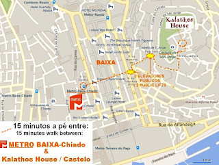 15 minutes walking between METRO (BAIXA-Chiado) and CASTLE