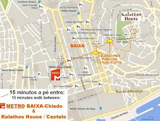 15 minutes walking between METRO (BAIXA-Chiado) and CASTLE