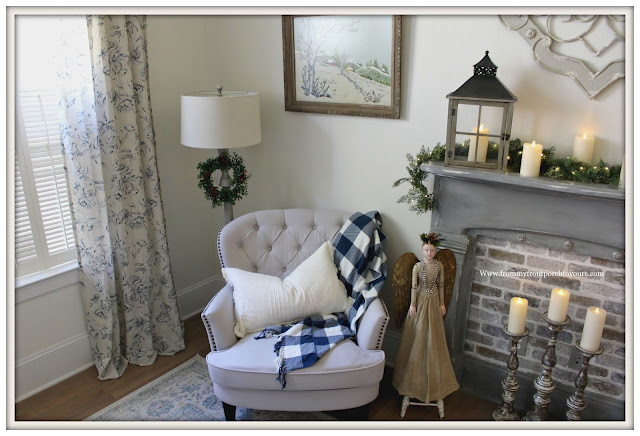 French Country-French Farmhouse-Christmas-Bedroom-Sitting Area-Cottage Style-From My From Porch To Yours