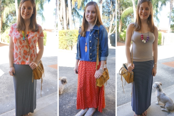 Colourful maxi skirt outfits with mustard yellow micro Regan Bag | Away From The Blue