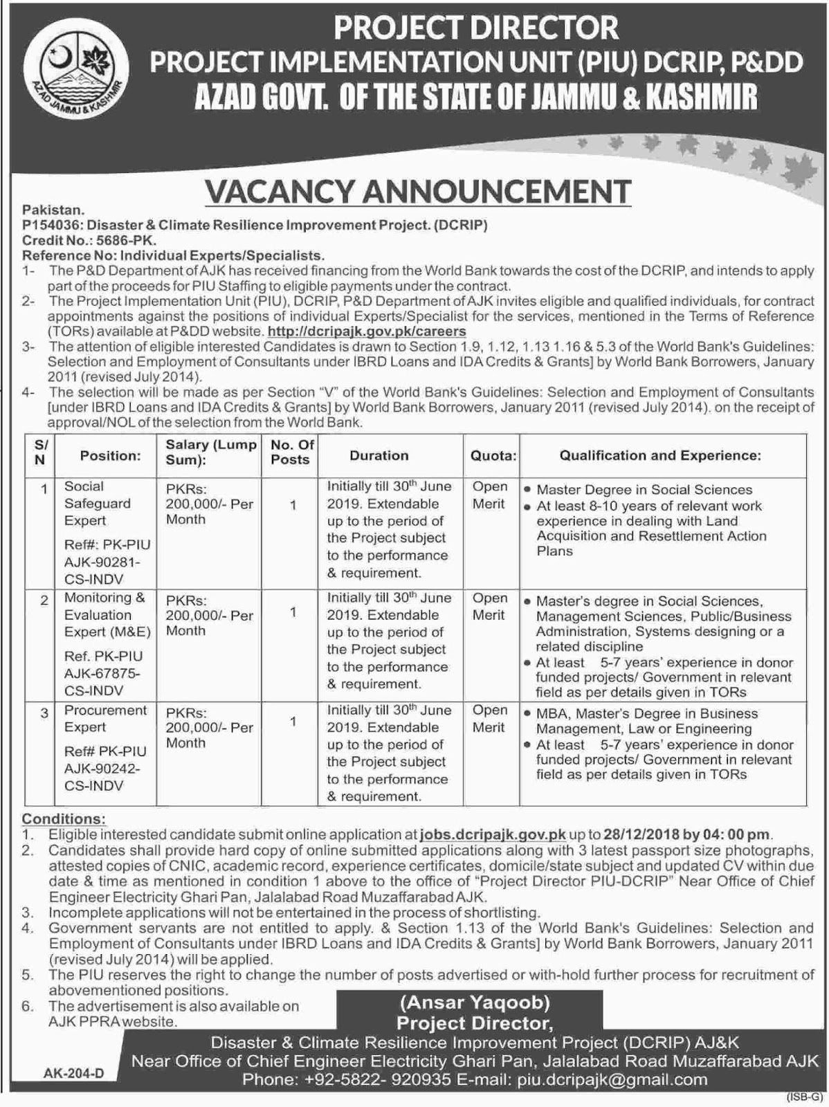 Jobs in Project Implementation Unit DCRIP, Govt of Azad Jammu and Kashmirt