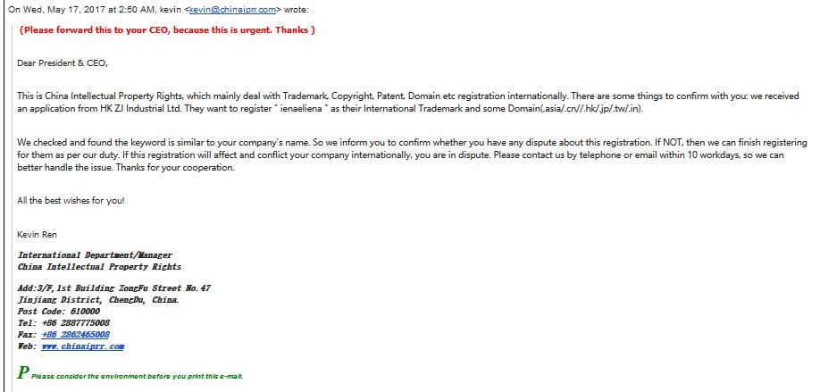 Terima email yang menyatakan ada syarikat ingin daftar domain anda