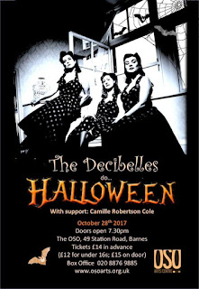 Halloween poster advertising The Decibelles' next gig