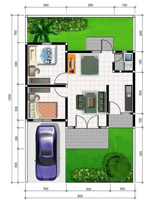 Contoh Denah Rumah Minimalis Beserta Ukurannya