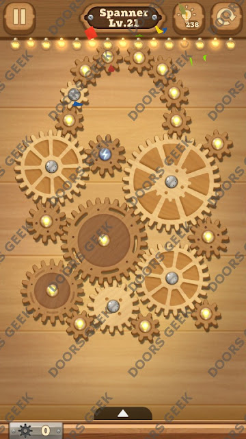 Fix it: Gear Puzzle [Spanner] Level 21 Solution, Cheats, Walkthrough for Android, iPhone, iPad and iPod