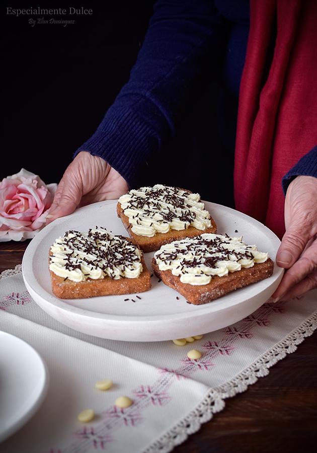 receta torrijas tradicionales con miel y leche sin gluten con chocolate blanco