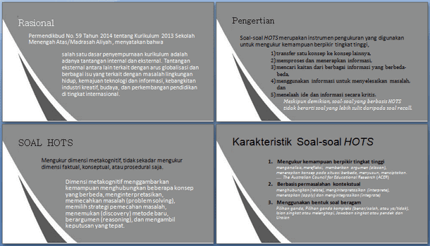Pedoman Penyusunan Soal HOTS (Higher Order Thinking Skill)