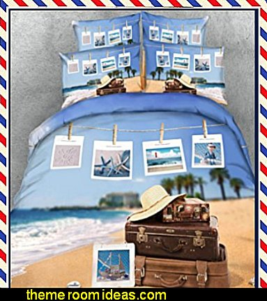 Beach photos Bedding  travel theme decorating ideas - global decor - world travel decorating - around the world theme decorating - London underground - postcard decor - world globe Travel theme bedrooms - Paris - Rome - Moscow - New York travel the globe - Vintage style travel theme decorating decor - Paris themed bedrooms - Paris themed decor - kids world travels