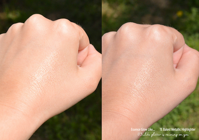 Essence Glow Like... TE Baked Metallic Highlighter in 03 Like Glitter is Raining on You Swatches