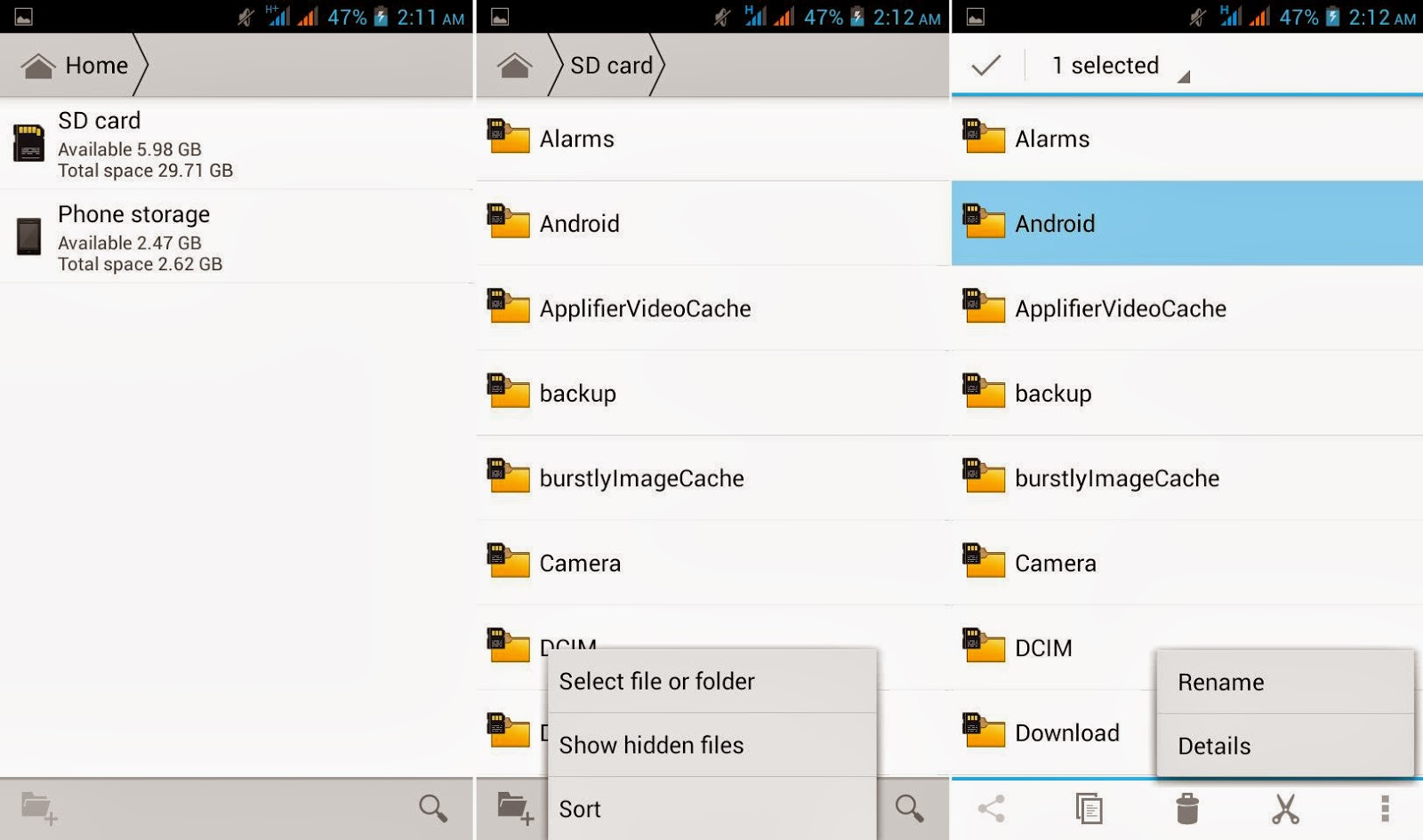 Cherry Mobile Omega XL File Manager