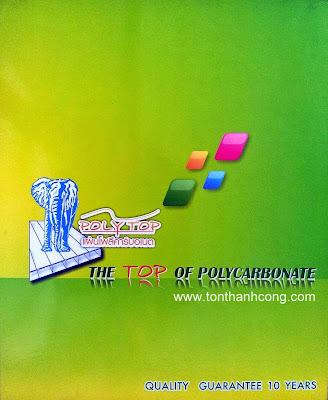 Logo & tên thương hiệu tấm lấy sáng Polycarbonate Thái Lan