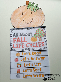 Fall Life Cycles with pumpkin topper- discusses both apple and pumpkin life cycles- October Activities for a primary classroom- PLUS a freebie!