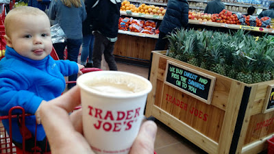 Trader Joe's sample Coffee with cute baby