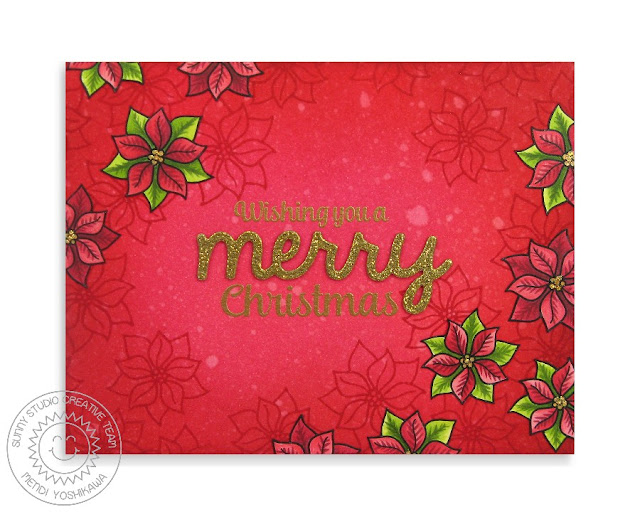Sunny Studio Stamps: Christmas Icons Poinsettia Card by Mendi Yoshikawa