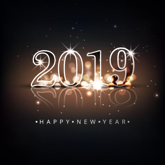 Feliz Nuevo Año 2019 café y dorado con destellos