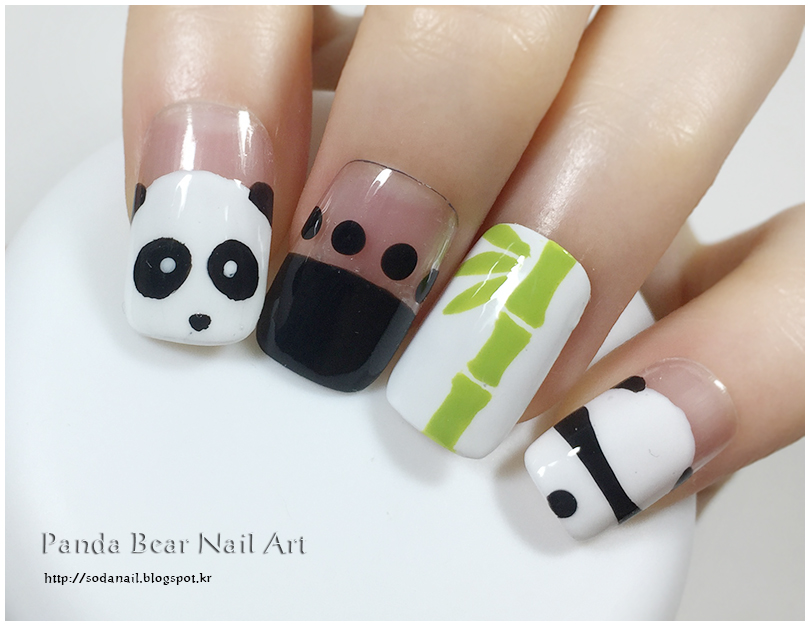 Sodanail panda bear bamboo nail art design panda bear and bamboo nails for summer nail art design prinsesfo Gallery