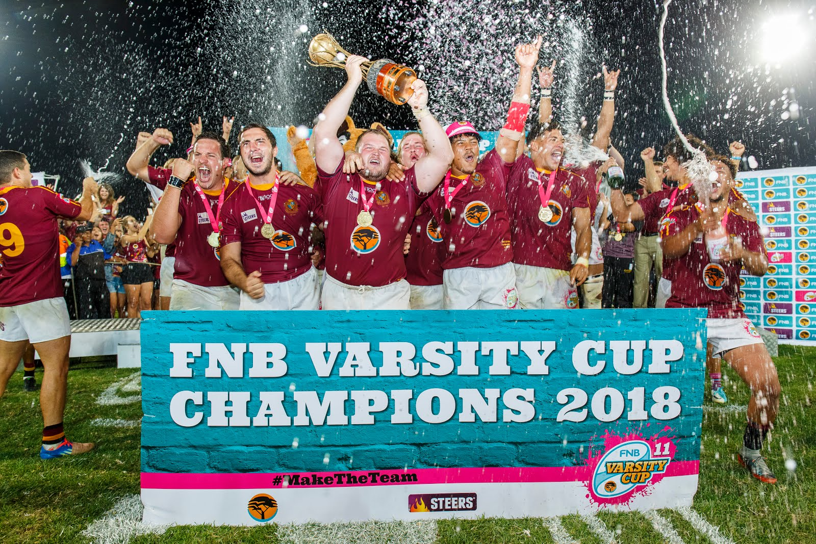 Maties players celebrating their 40 - 7 win over Pukke in the final