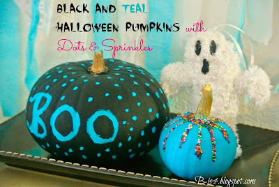 Black and Teal Halloween Pumpkins