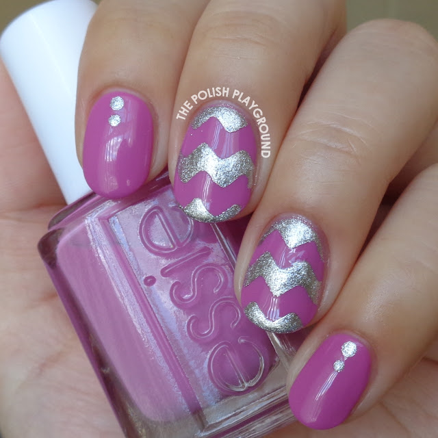 Orchid and Silver Chevron Nail Art