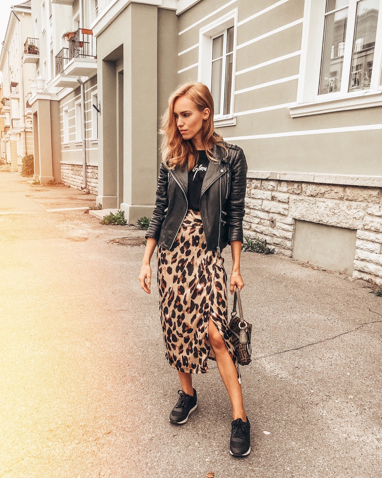 leopard print skirt sneakers leather jacket outfit