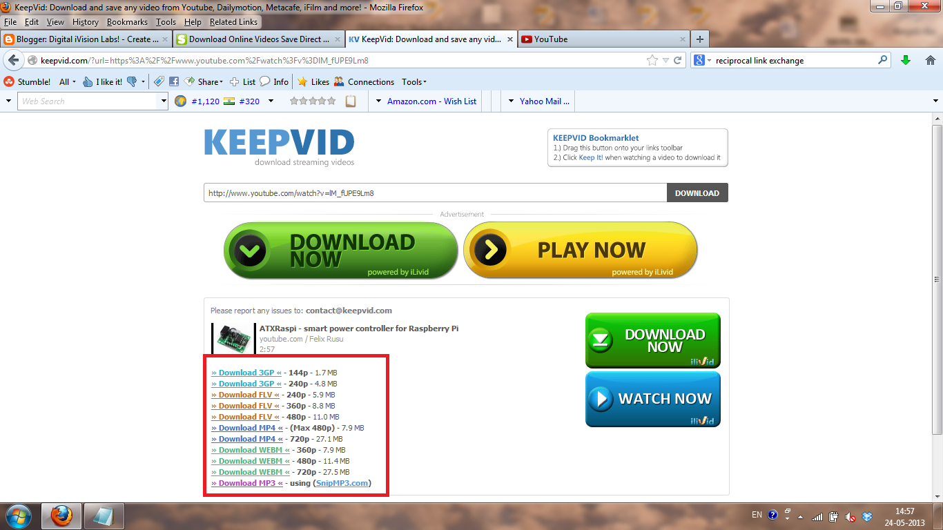 Keepvid.com Screenshot what the download links appear
