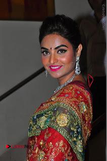 Model Sharon Fernandes Stills in Red Saree at Trendz Exhibition Launch  0031.JPG