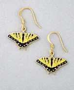 yellow tiger swallowtail butterfly earrings french curve