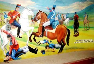 Imagen de la Batalla de Junín en plena lucha