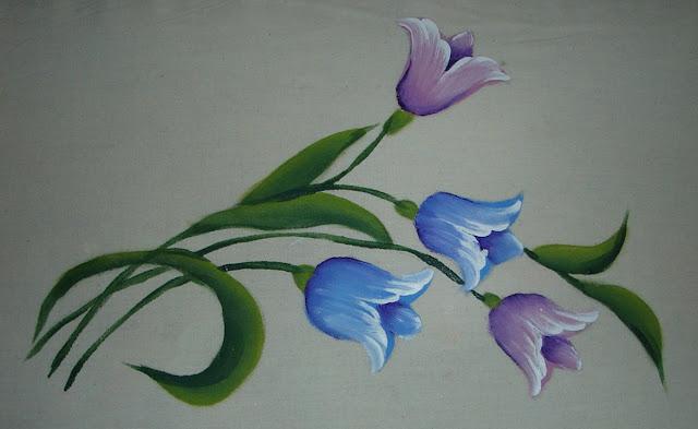 pintura em tecido flores tulipas