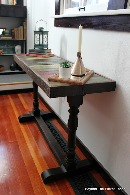 use a garage sale find and salvaged wood to make a boho rustic table