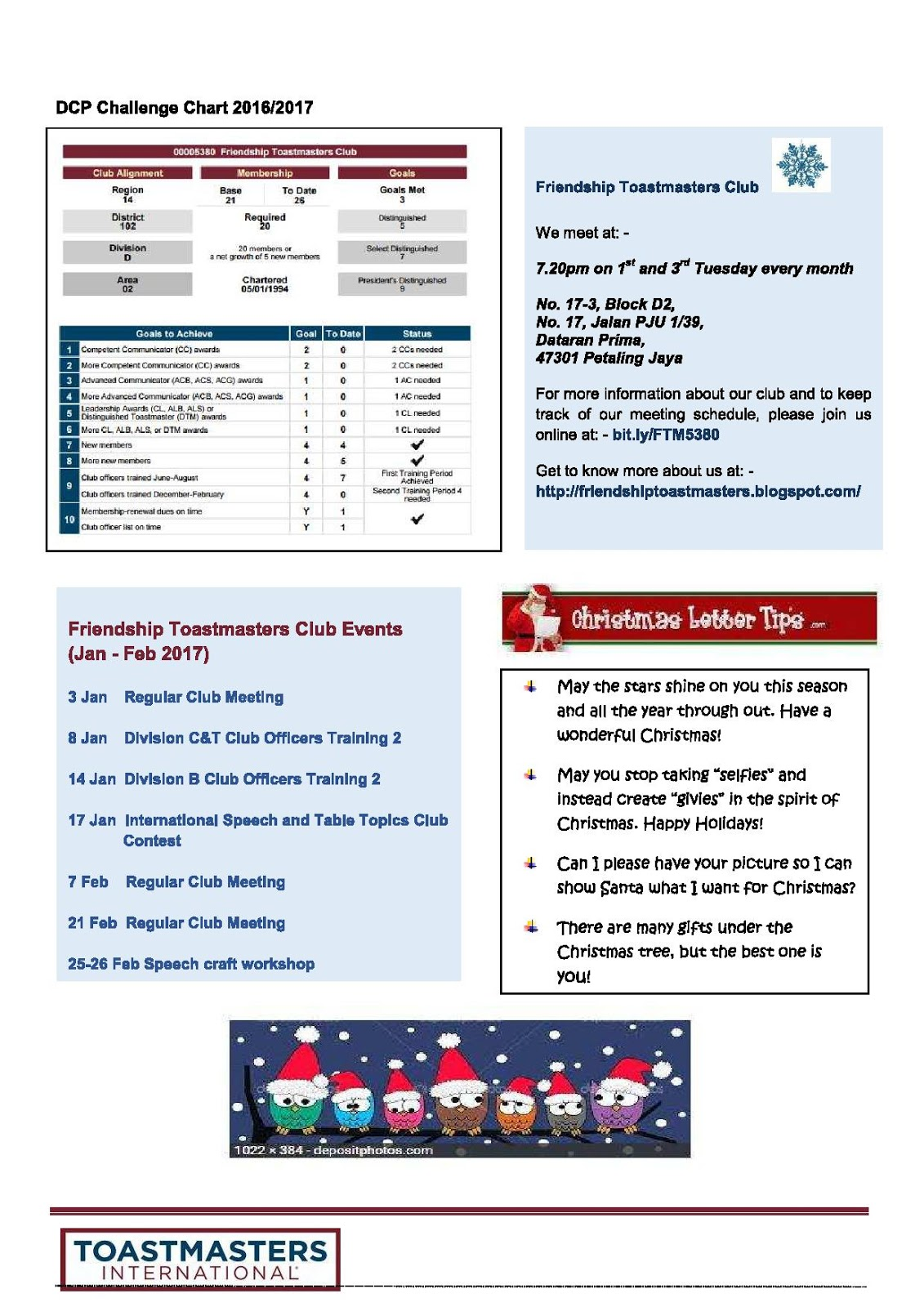 Friendship Toastmasters Club Newsletter Issue 5 2016 2017