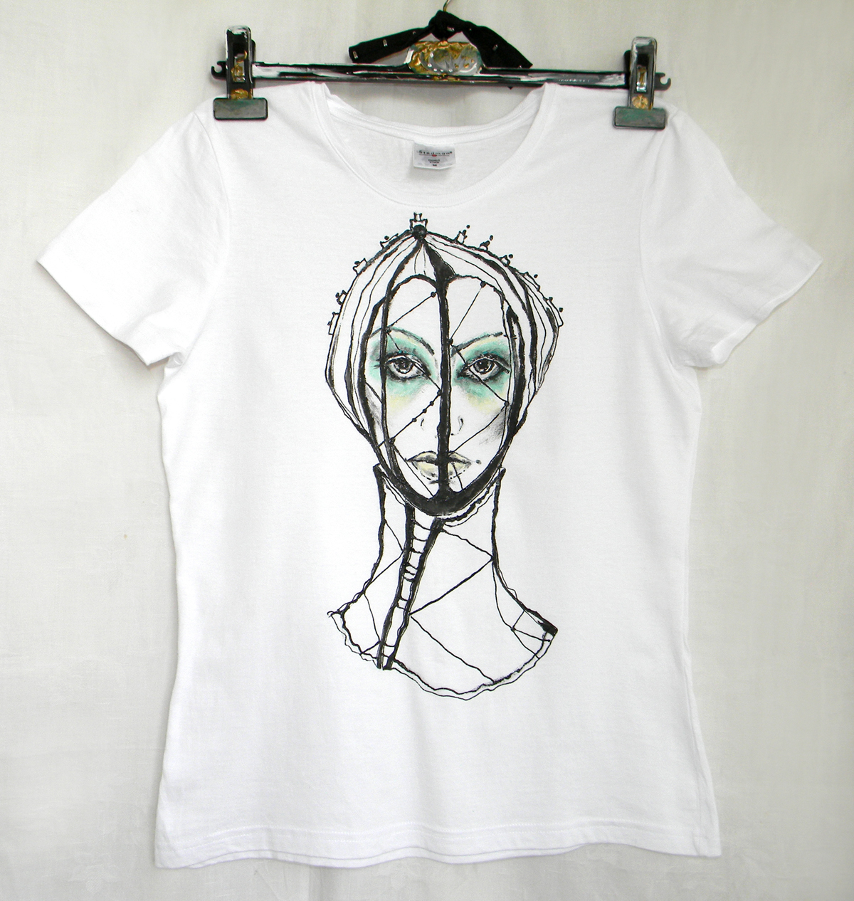 M size-Hand Painted Women Tshirt with Original Goth Portrait on White Knit Cotton in Black and Mint